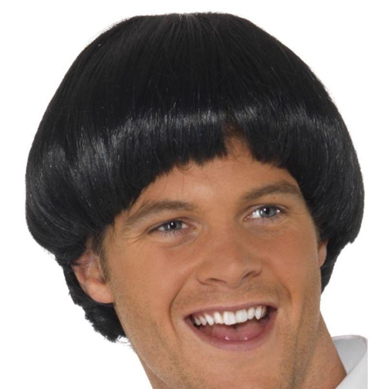 Swinging 60S Bowl Wig Adult Black - Mens Wigs Mad Fancy Dress