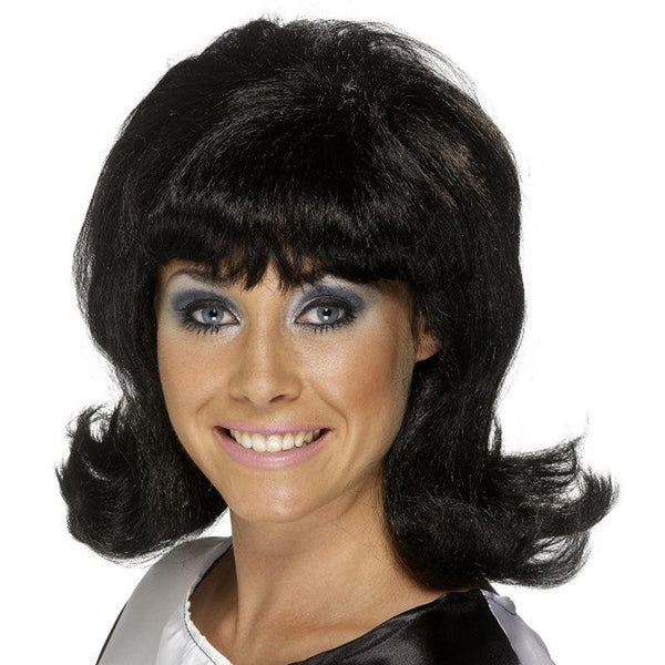 60S Flick Up Wig Adult Black - Ladies Wigs Mad Fancy Dress