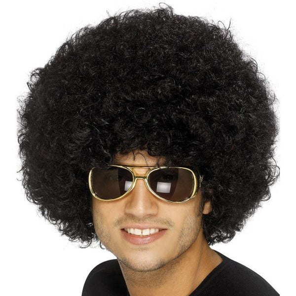 70S Funky Afro Wig Adult Black - Smiffys Wigs Mad Fancy Dress