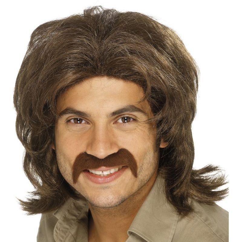 70S Retro Wig Adult Brown - Mens Wigs Mad Fancy Dress