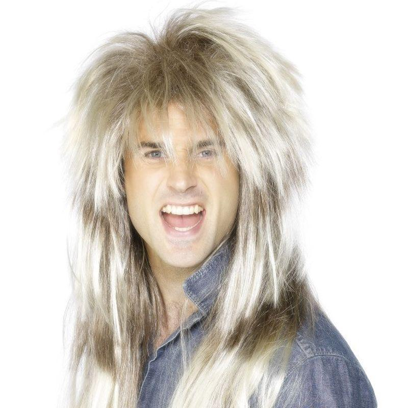 80S Mega Mullet Wig Adult Blonde - Mens Wigs Mad Fancy Dress
