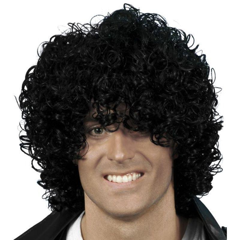 Afro Wet Look Wig Adult Black - Smiffys Wigs Mad Fancy Dress