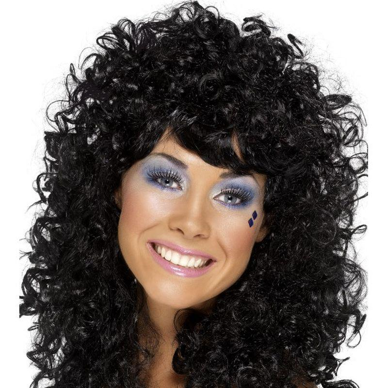 Boogie Babe Wig Adult Black - Ladies Wigs Mad Fancy Dress