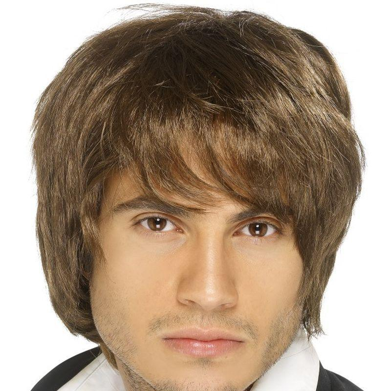 Boy Band Wig Adult Brown - Heroes & Role Model Mad Fancy Dress