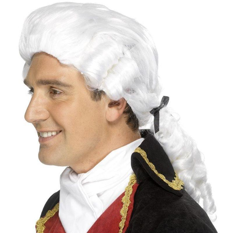 Court Wig Adult White - Mens Wigs Mad Fancy Dress
