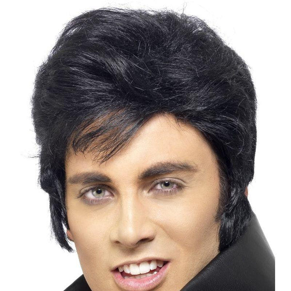 Elvis Wig Adult Black - Elvis Presley Licensed Fancy Dress Mad Fancy Dress