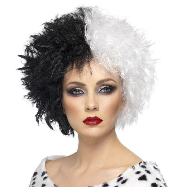 Evil Madame Wig Adult White/black - Ladies Wigs Mad Fancy Dress