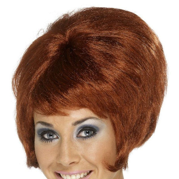 60S Beehive Wig Adult Auburn - Ladies Wigs Mad Fancy Dress