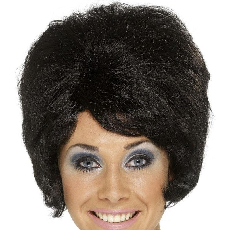60S Beehive Wig Adult Black - Ladies Wigs Mad Fancy Dress
