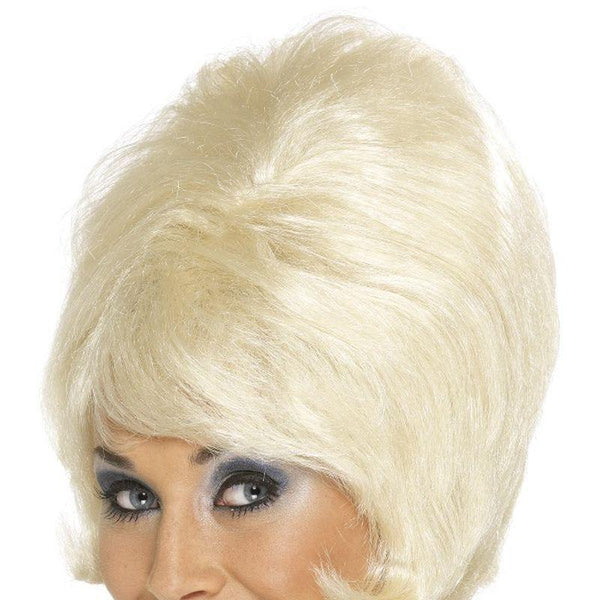 60S Beehive Wig Adult Blonde - Ladies Wigs Mad Fancy Dress