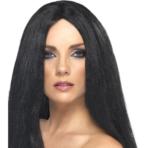 Star Style Wig Adult Black - Ladies Wigs Mad Fancy Dress