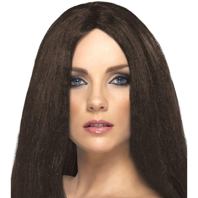 Star Style Wig Adult Brown - Ladies Wigs Mad Fancy Dress