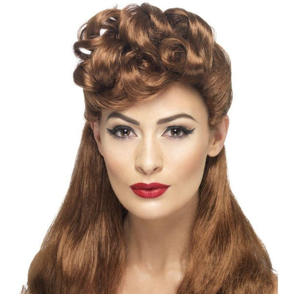 40S Vintage Wig Adult Brown - 1940S Wartime Fancy Dress Mad Fancy Dress
