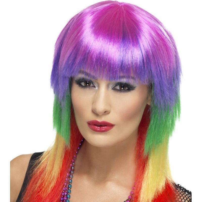 Rainbow Rocker Wig Adult Black - 1980S Mad Fancy Dress