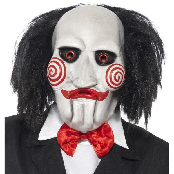 Saw Jigsaw Mask Adult Black/white - Saw Licensed Fancy Dress Mad Fancy Dress