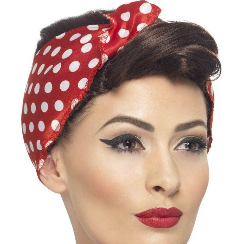 40S Rosie Wig Adult Red/white - 1940S Wartime Fancy Dress Mad Fancy Dress