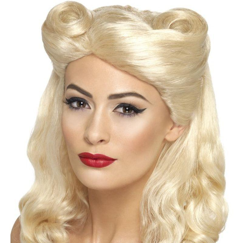 40S Pin Up Wig Adult Blonde - 1940S Wartime Fancy Dress Mad Fancy Dress