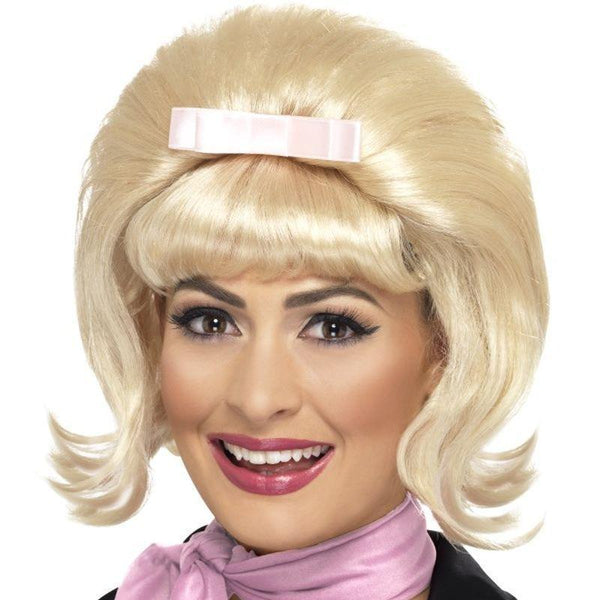 50S Flicked Beehive Bob Adult Blonde - 50S Rocknroll Mad Fancy Dress