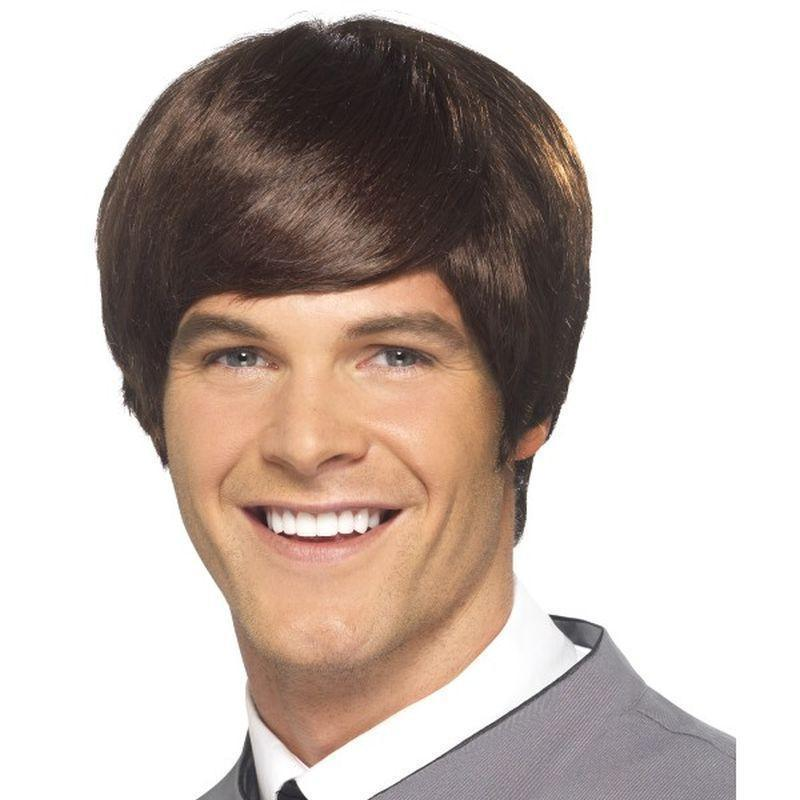 60S Male Mod Wig Adult Brown - 60S Groovy Mad Fancy Dress