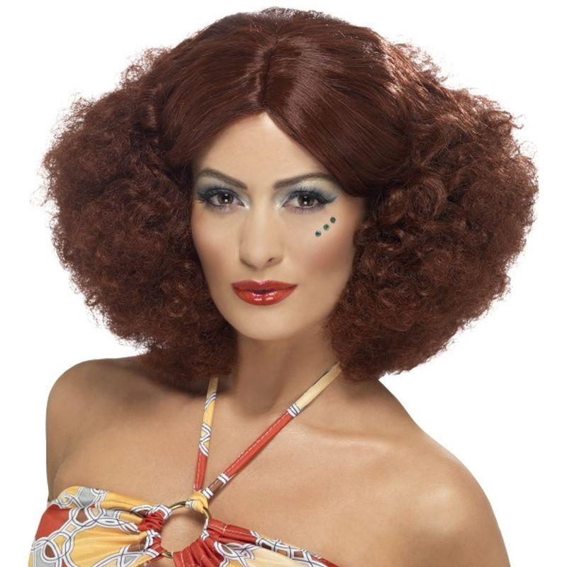 70S Afro Wig Adult Brown - 70S Disco Mad Fancy Dress