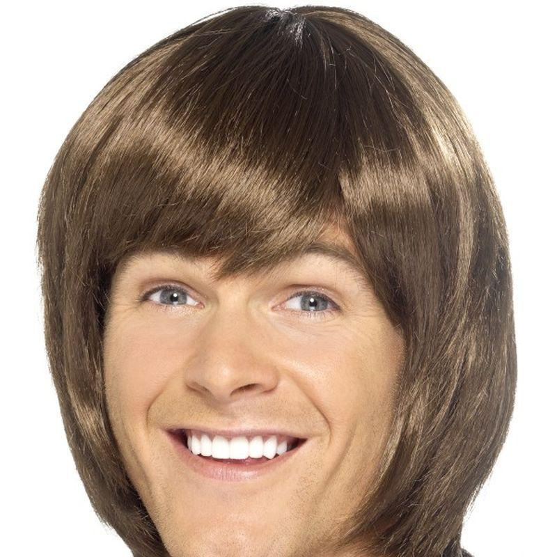 70S Heartthrob Wig Adult Brown - 70S Disco Mad Fancy Dress