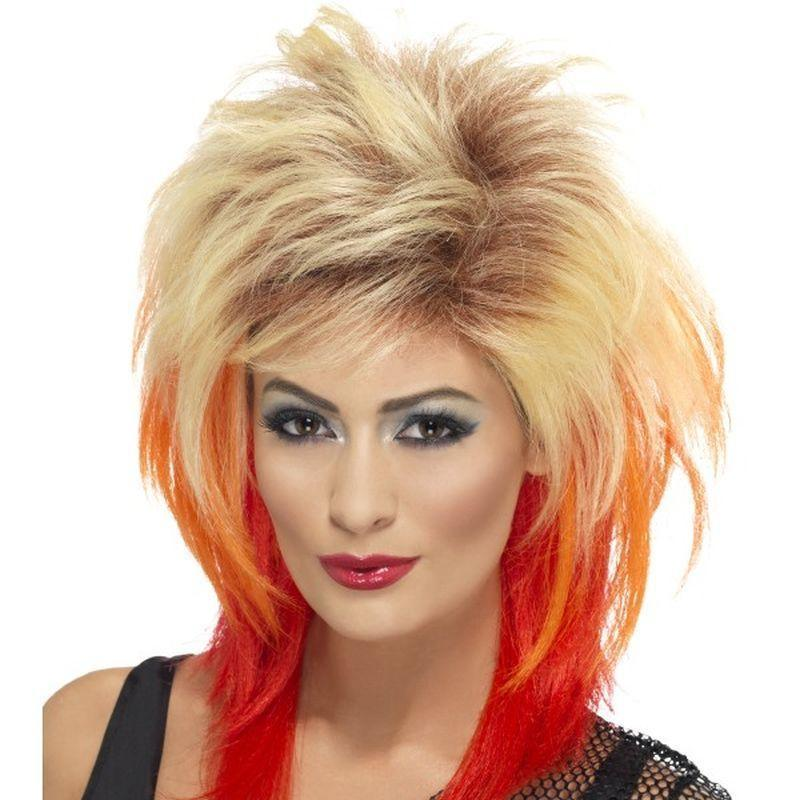 80S Mullet Wig Adult Blonde/red - 1980S Mad Fancy Dress