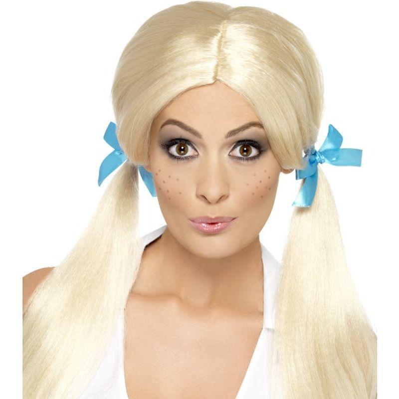 Sassy Schoolgirl Pigtails Wig Adult Blonde - School Days Mad Fancy Dress