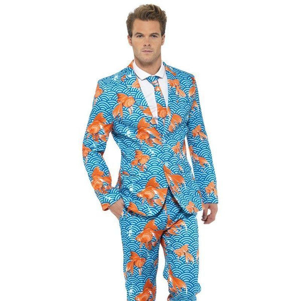 Goldfish Suit Adult Blue/orange - Stands Out Suits Mad Fancy Dress