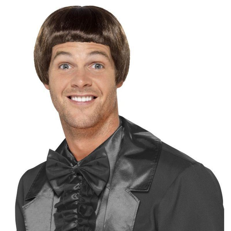 90S Bowl Cut Wig Adult Brown - 1990S Theme Fancy Dress Mad Fancy Dress