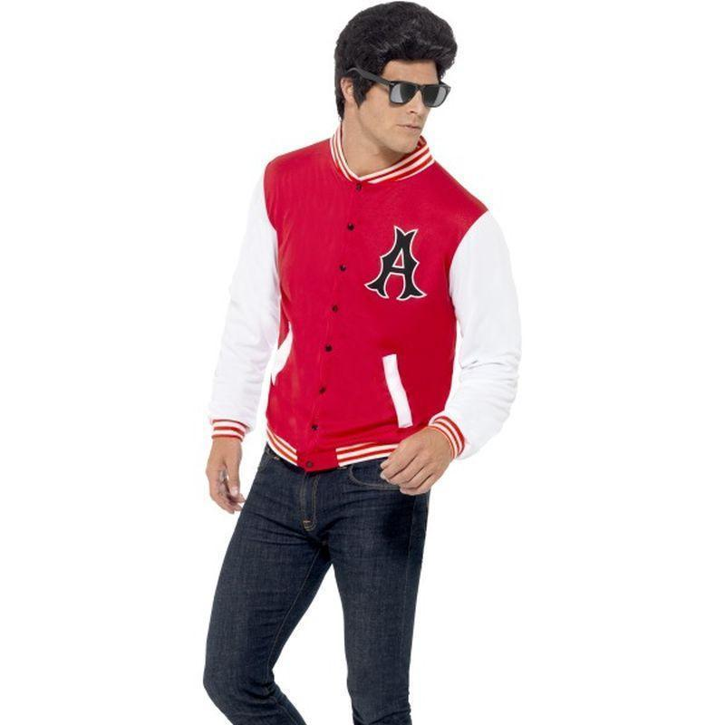 50S College Jock Letterman Jacket Adult Red/white - 50S Rocknroll Mad Fancy Dress