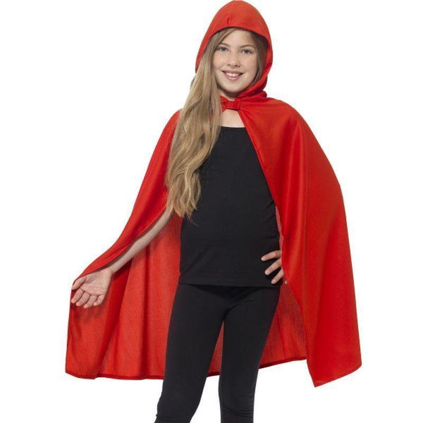 Hooded Cape Kids Red - Girls Costumes Mad Fancy Dress