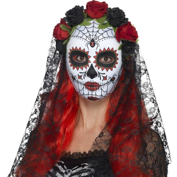 Day Of The Dead Senorita Mask Full Face Adult Red/black - Around The World Mad Fancy Dress