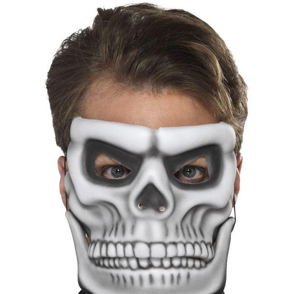 Day Of The Dead Skeleton Mask Adult White - Around The World Mad Fancy Dress