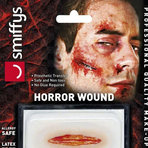 Horror Wound Transfer Cut & Slashed Wound Adult Red - Cosmetics & Disguises Mad Fancy Dress
