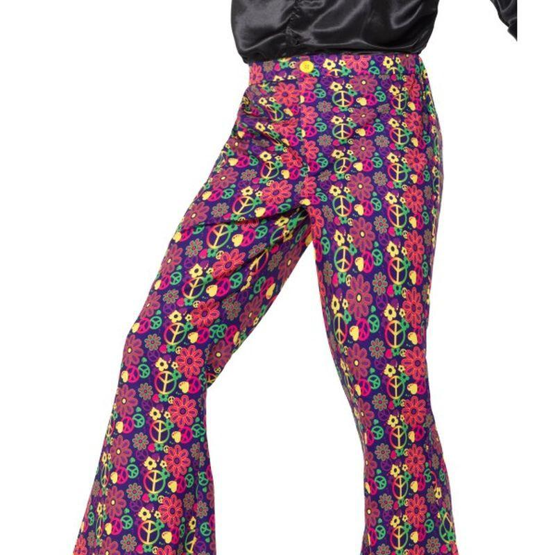 60s Psychedelic CND Flared Trousers, Mens Adult Multi