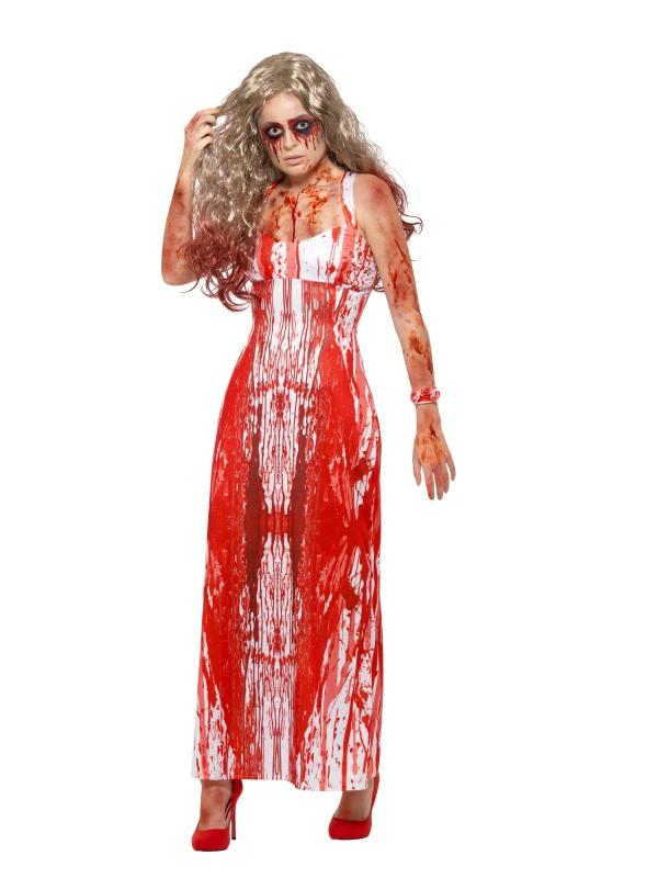 Bloody Prom Queen Costume Adult White/Red