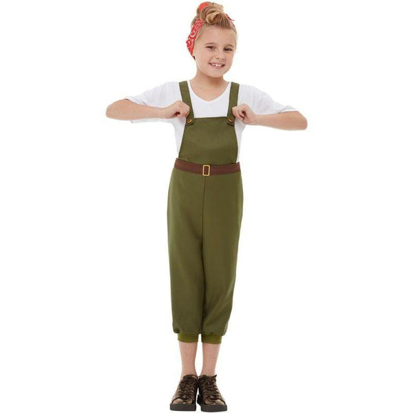 WW2 Little Land Girl Costume Child Green