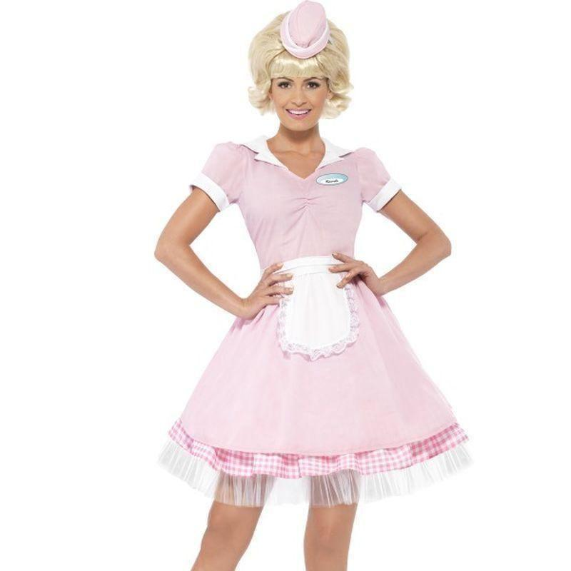 50S Diner Girl Costume Adult Pink - 50S Rocknroll Mad Fancy Dress
