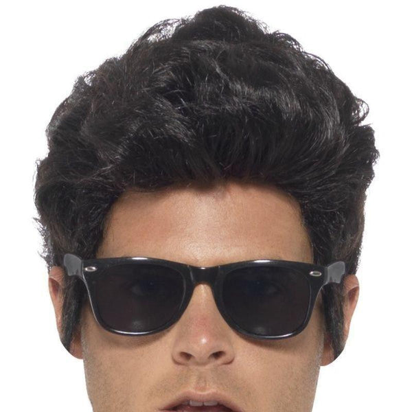 50S Style Specs Adult Black - 50S Rocknroll Mad Fancy Dress