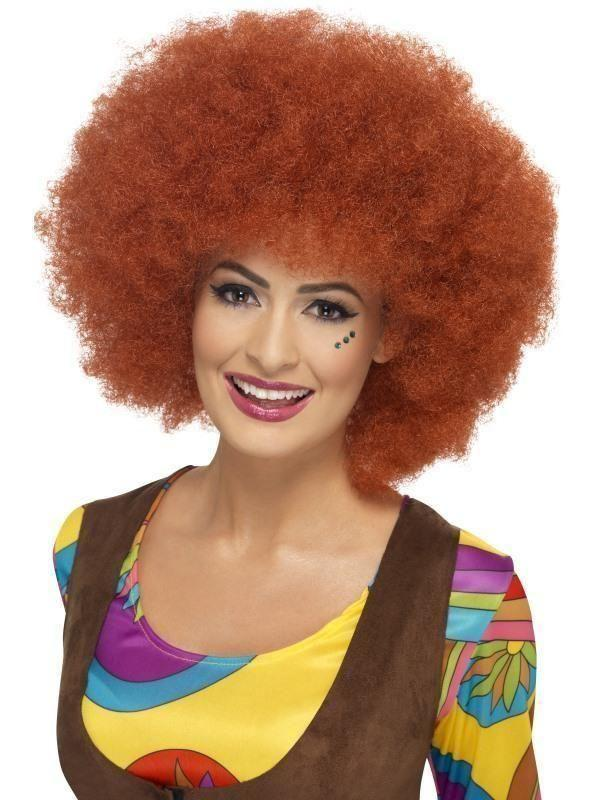 60S Afro Wig Adult Red - 60S Groovy Mad Fancy Dress