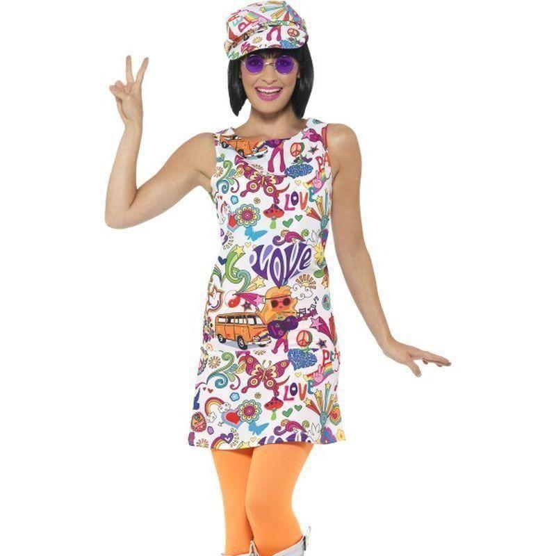 60S Groovy Chick Costume Adult White - 60S Groovy Mad Fancy Dress