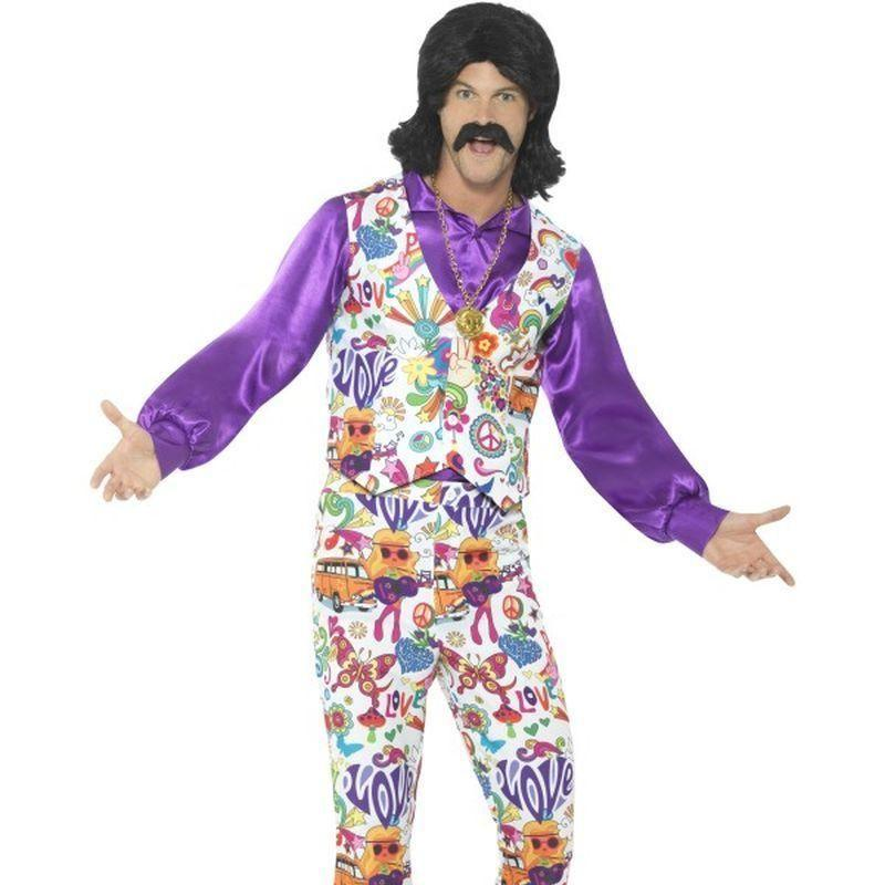 60S Groovy Hippie Costume Adult White/purple - 60S Groovy Mad Fancy Dress