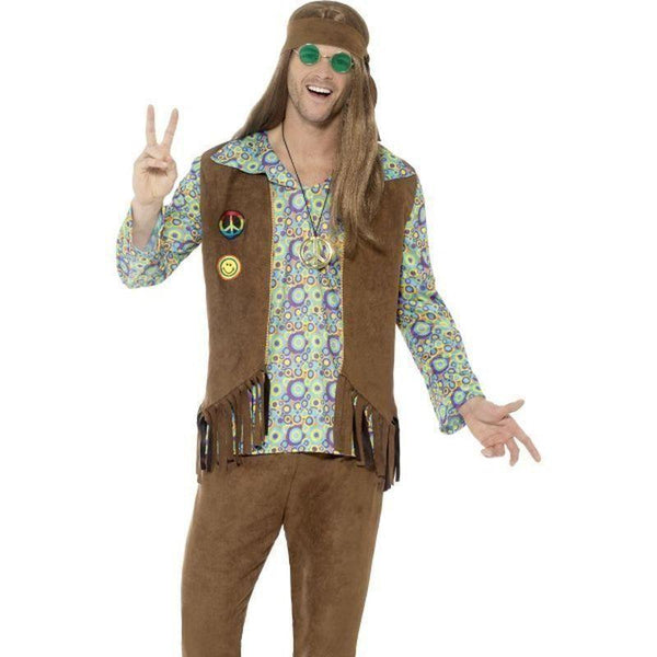 60S Hippie Costume With Trousers Top Waistcoat Adult Multi - 60S Groovy Mad Fancy Dress