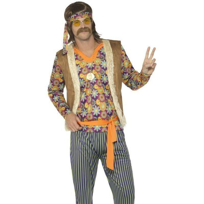 60S Singer Costume Male Adult Brown - 60S Groovy Mad Fancy Dress