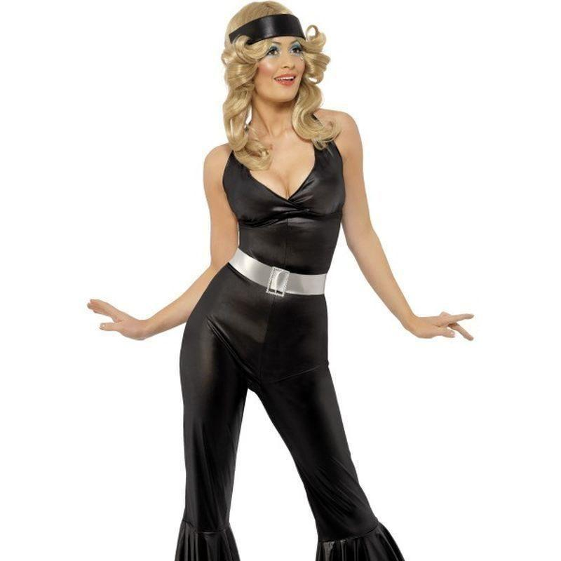 70S Diva Costume Adult Black/silver - 70S Disco Mad Fancy Dress