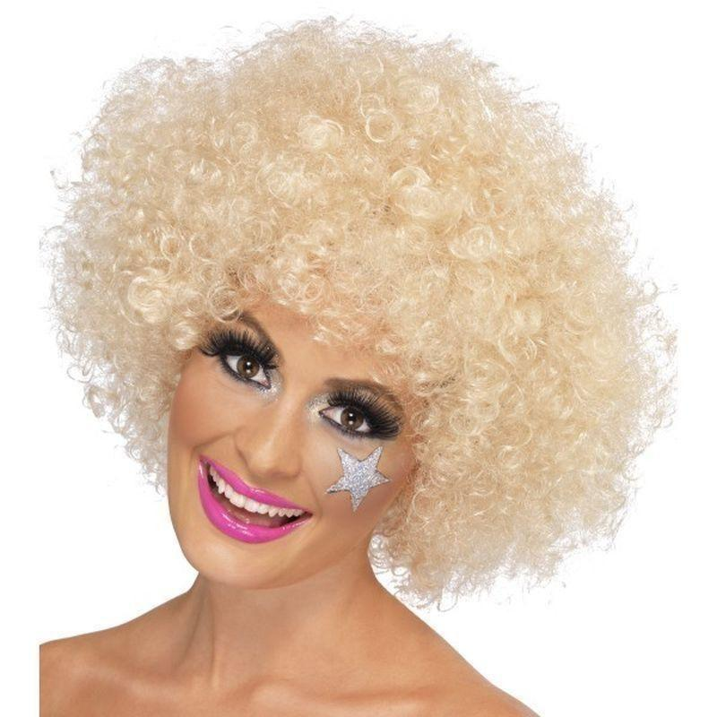 70S Funky Afro Wig Adult Blonde - Smiffys Wigs Mad Fancy Dress