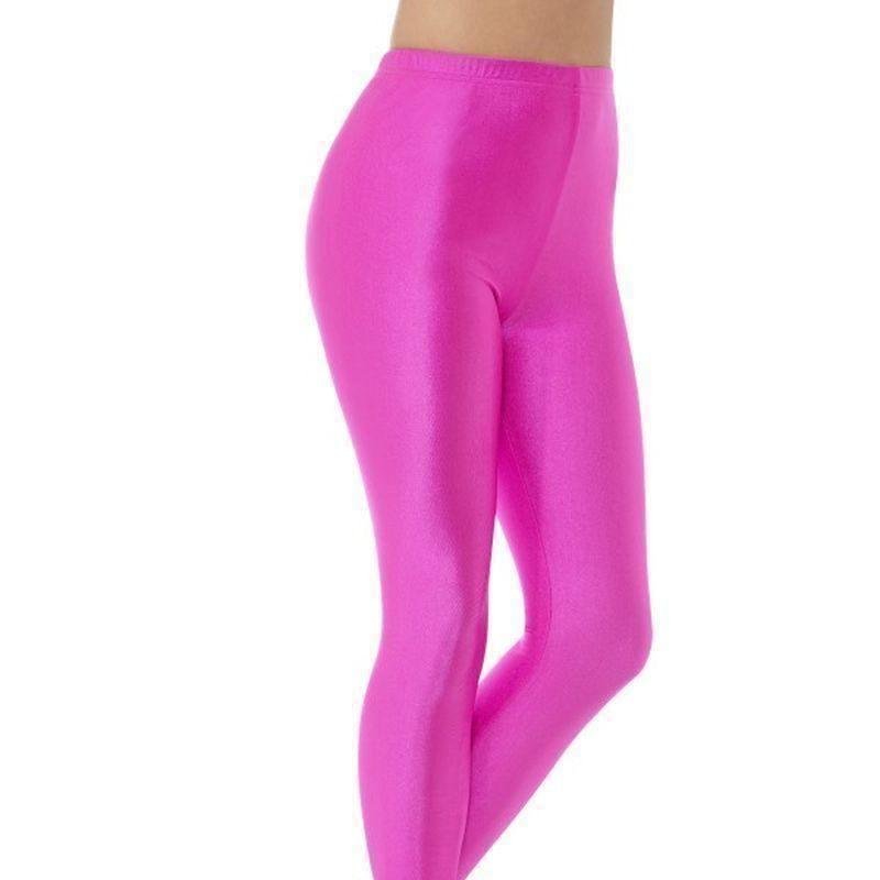 80S Disco Spandex Leggings Adult Neon Pink - 1980S Mad Fancy Dress