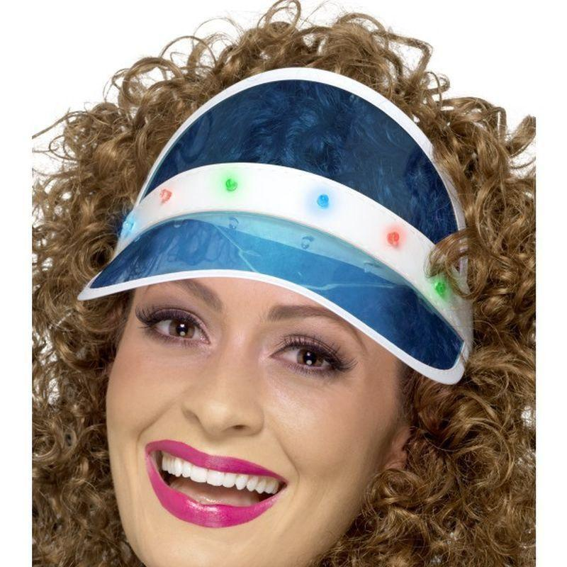 80S Light Up Visor Adult Blue - 1980S Mad Fancy Dress