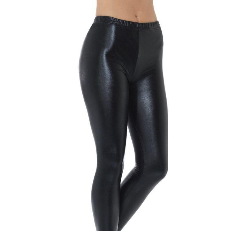 80S Metallic Disco Leggings Adult Black - 1980S Mad Fancy Dress