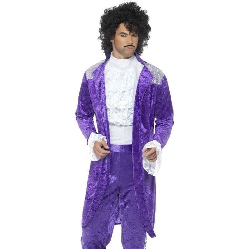 80S Purple Musician Costume Adult Purple - 1980S Mad Fancy Dress